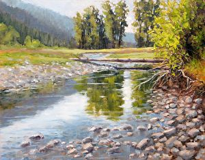Old River Bed by artist Ginger Whellock. #landscape painting found on the FASO Daily Art Show - http://dailyartshow.faso.com