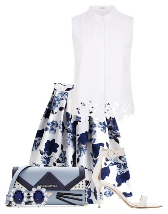 """""""Blue & White"""" by aquabanana on Polyvore featuring Elie Tahari, Gianvito Rossi, Karl Lagerfeld and CARAT*"""