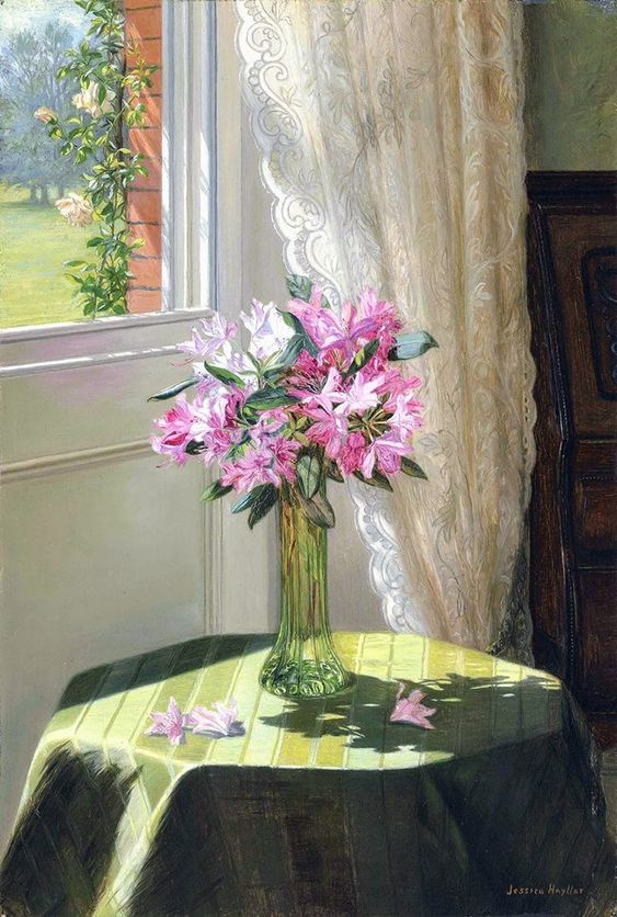 Jessica Hayllar (1858-1940)  —   Rhododendrons by a Window (647×960)