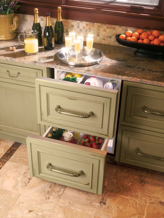 """""""Cool Cabinets"""" Under the counter refrigerator to store beverages and produce."""