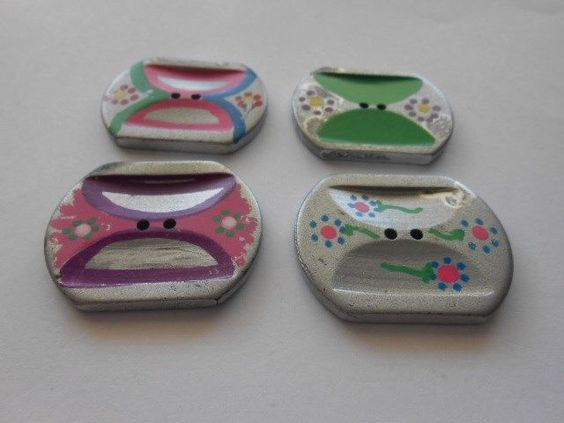4 Large Plastic Casein Buttons with Different Design Painted on Them Must See | eBay
