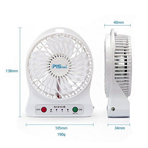 Pisnet Mini Usb Table Desk Rechargeable Portable Personal Fan