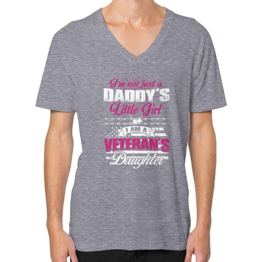 I'm not just a Daddy's Little Girl I am a Veteran's Daughter V-Neck (on man)