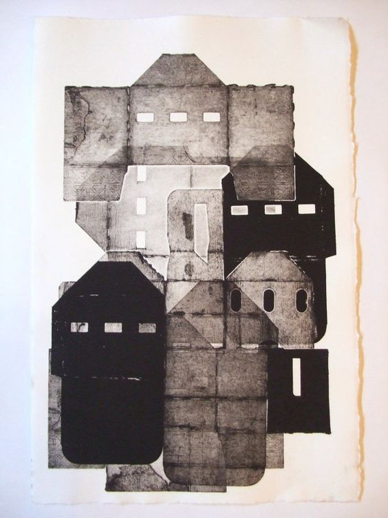 RESERVED Little City monoprint monotype handpulled print with cardboard boxes.