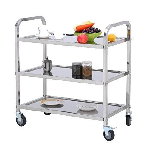 Nisorpa 3 Tier Stainless Steel Utility Cart With Wheels Kitchen Island Trolley Serving Cart Cat Kitchen Island Trolley Solid Oak Furniture Kitchen Storage Rack