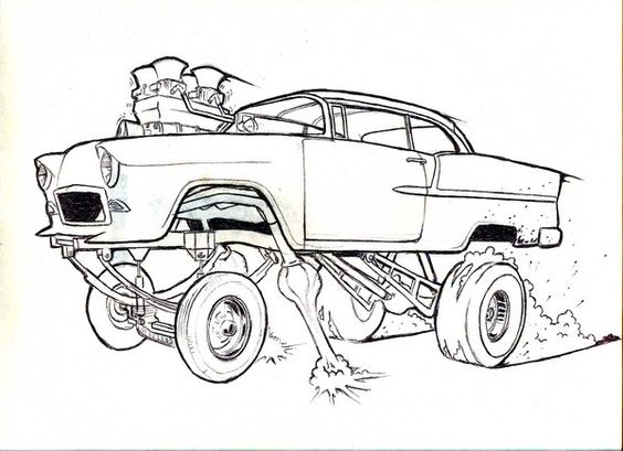hot rod coloring pictures