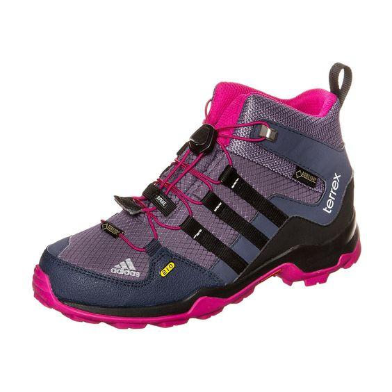 Terrex Mid GTX Outdoorschuh Kinder    Perfekt für die kleinen Outdoor-Athleten die auch im nassen und schroffen Gelände alles geben.     Dank GORE-TEX sind die Schuhe wasserdicht und atmungsaktiv. Der Trialschuh ist ideal für anspruchsvolle Aktivitäten. Durch die TRAXION-Technologie erhältst du die perfekte Kombination von Stabilität und Grip. adiPRENE im Fersenbereich sorgt für hohen Tragekomf...