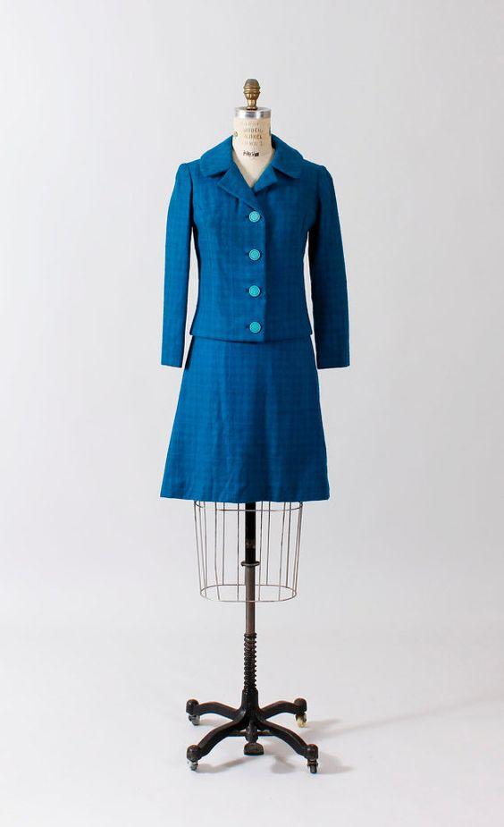 teal woolen skirt jacket blue 1960s