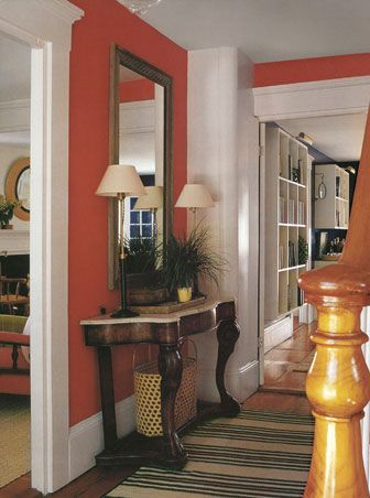 Entry Wall Color Orange Persimmon Paint Color, Hallway Colors, Bedroom Colors, Foyer Color, Wall Color, Reilly'S Bedroom, Tones Orange, Orange Red, Red Pink