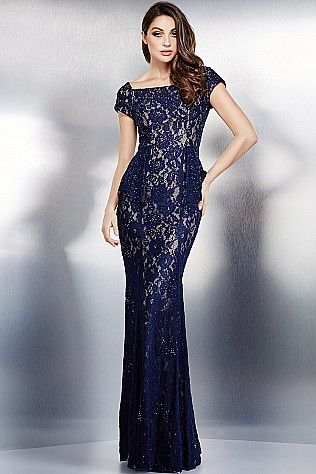 Navy Cap Sleeve Lace Dress 36920