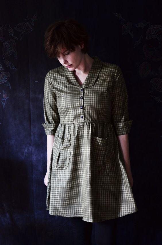 Jurk / de kunstenaar / Peter Pan kraag jurk / door LetsBacktrack