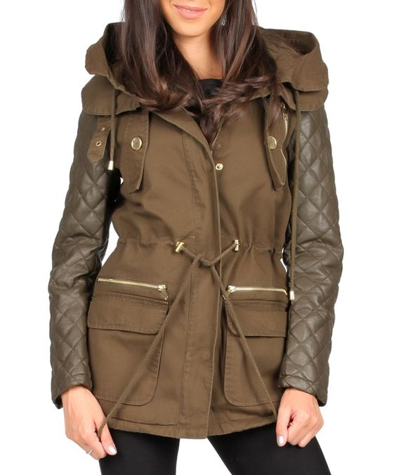 Khaki quilted sleeves parka Sale - Joins