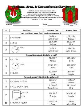 Circles worksheet day 2 answer key