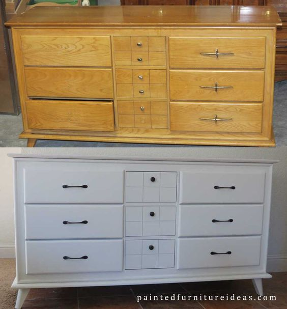 Small Mid Century Dresser Painted White