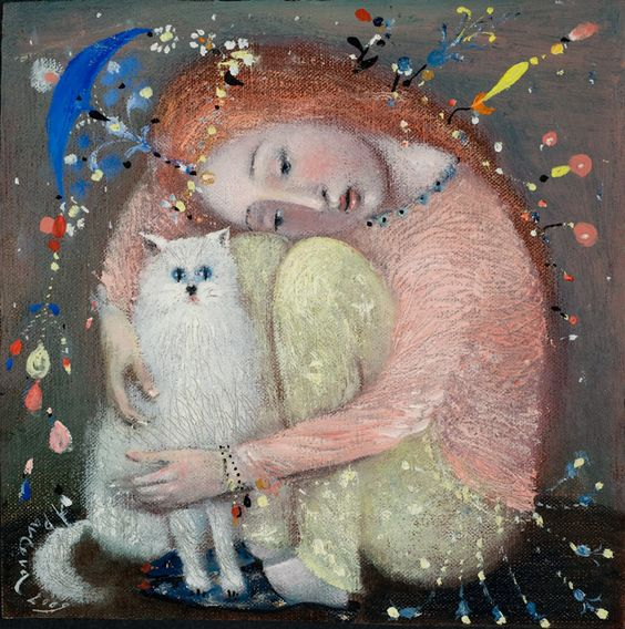 The painting -Friends- (2009) by Annael (Anelia Pavlova), artist, after the (classical) music of Faure