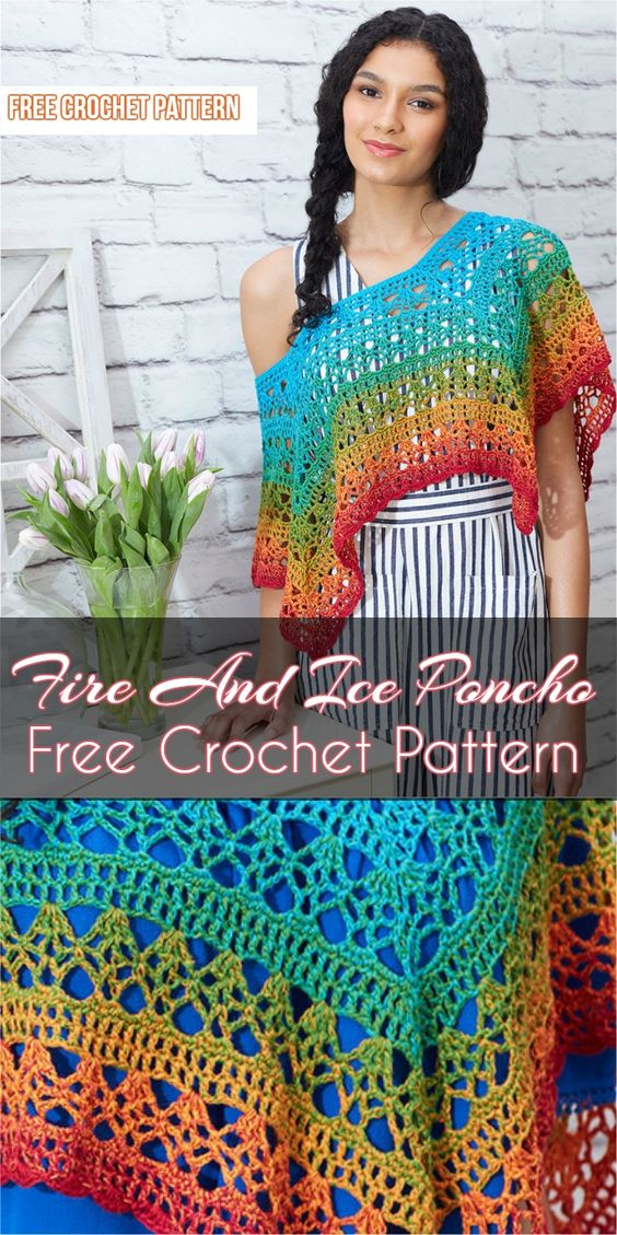 Fire And Ice Poncho Free Crochet Pattern #crochet #freecrochetpatterns #poncho #style #summerfashion