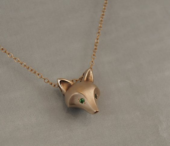 fox pendant bronze , green garnet eyes, gold filled chain