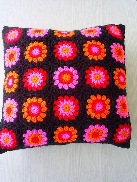 Granny square pillow.: