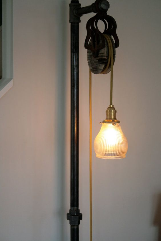 Floor Lamps Pulley And Industrial Floor Lamps On Pinterest