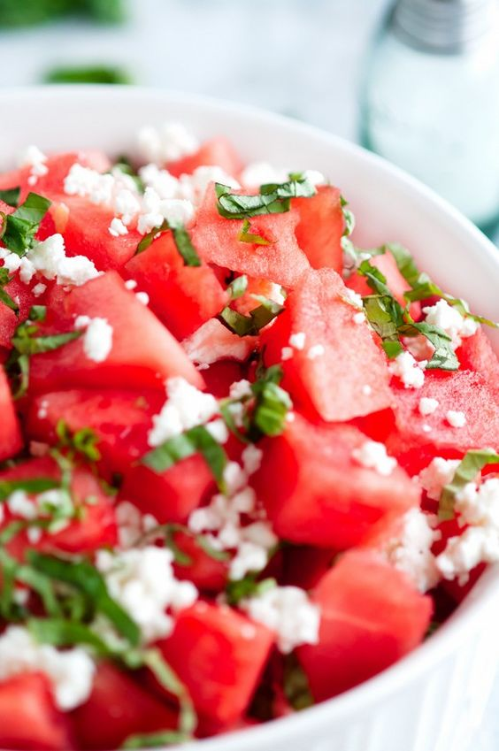Watermelon Goat Cheese Salad -- my go to summer salad!
