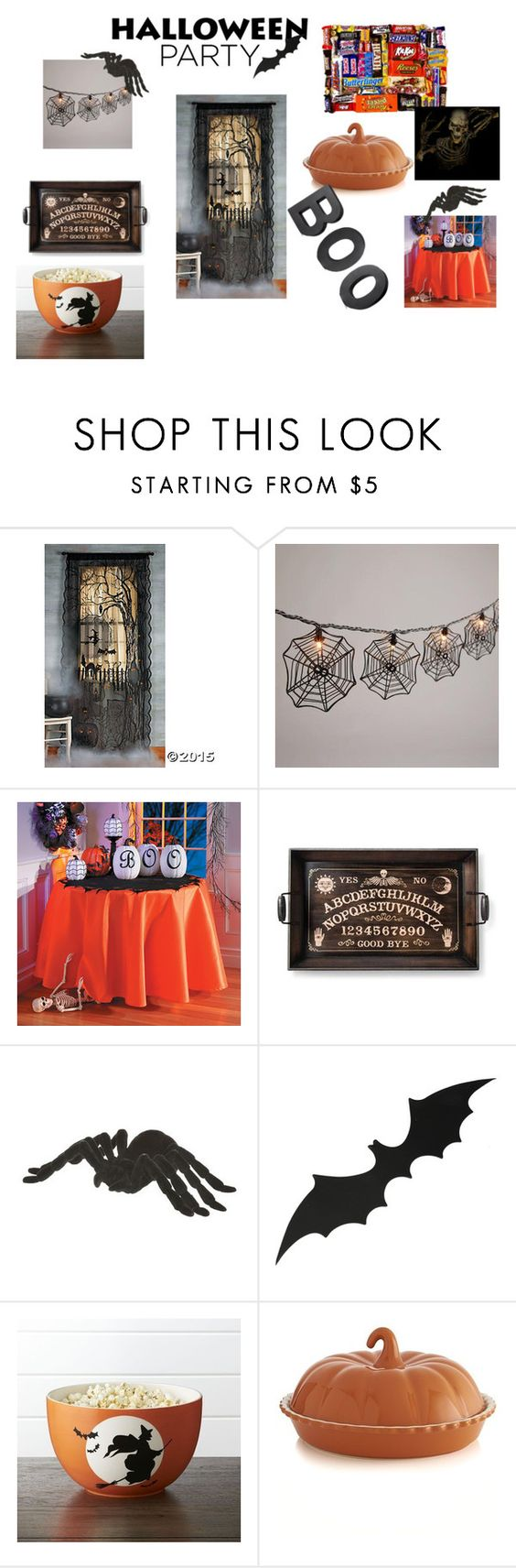 """""""halloween party decor"""" by katt-dallas06 ❤ liked on Polyvore featuring interior, interiors, interior design, home, home decor, interior decorating, Cost Plus World Market, Improvements, Crate and Barrel and Halloweenparty"""