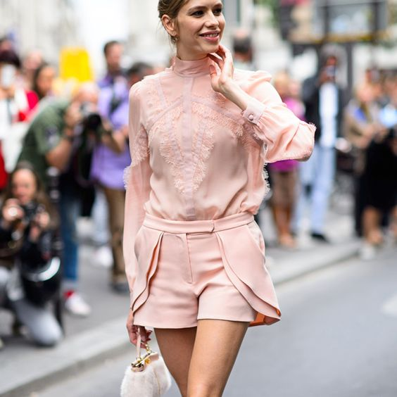 A pink on pink ensemble is anything but prissy.