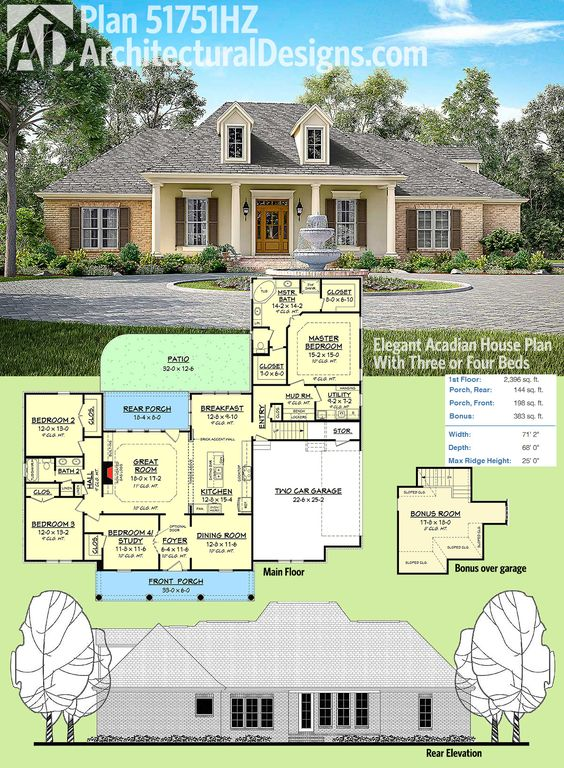 Plan 51751hz elegant acadian house plan with three or 2 story acadian house plans