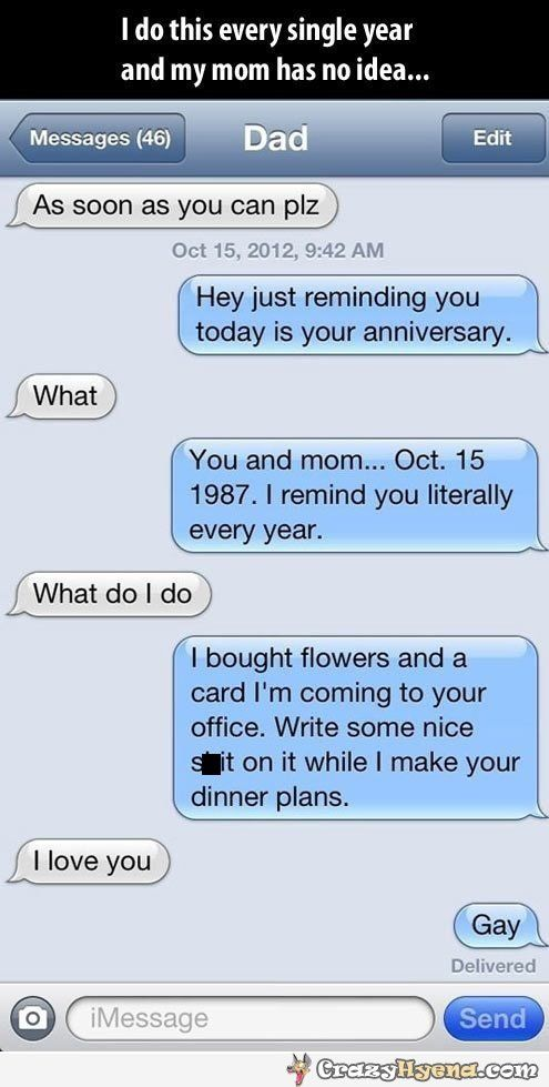 funniest iphone message of a son reminding dad that he and his wife have an anniversary from. Black Bedroom Furniture Sets. Home Design Ideas