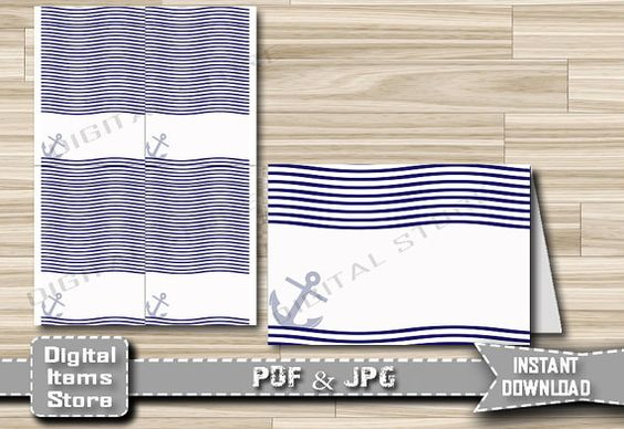 Baby Shower Food Tent Empty with Nautical Blue by DigitalitemsShop
