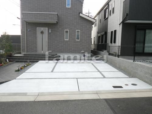 施工例駐車場ガレージ 土間コンクリート バラス砂利目地 現場番号