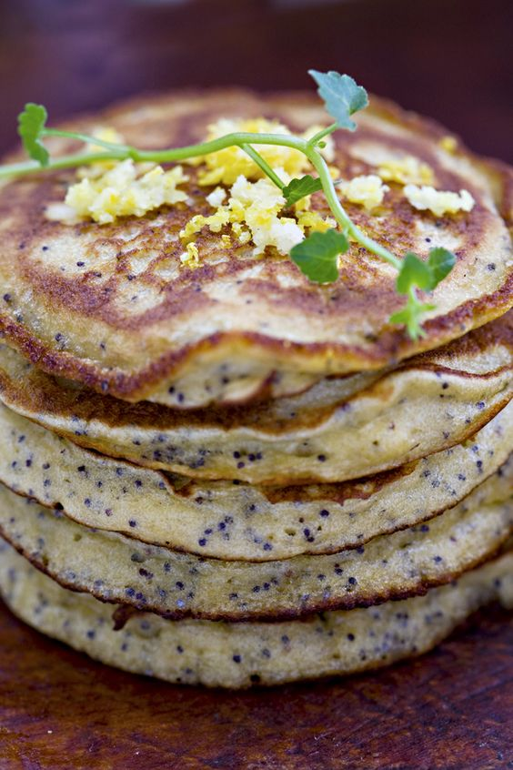 // Yuzu Poppy Seed Quinoa Pancakes