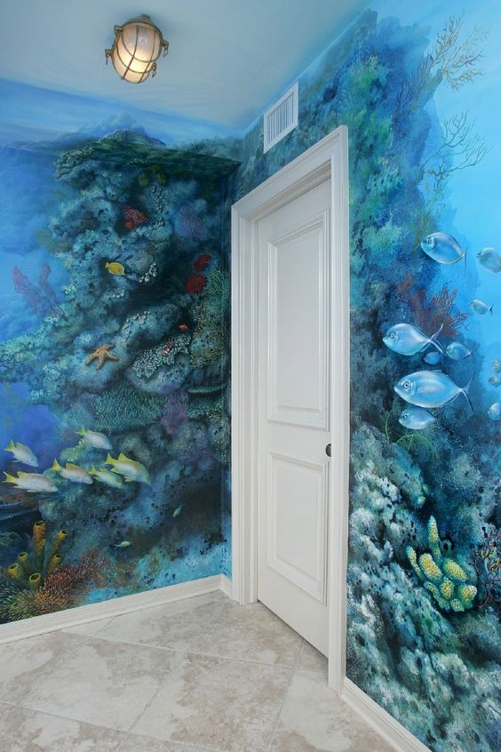 under sea fish aquarium tropical coral reef mural neat alternative to painting and decorating. Black Bedroom Furniture Sets. Home Design Ideas