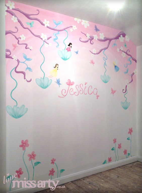 fairy and butterfly wall mural designed and hand painted