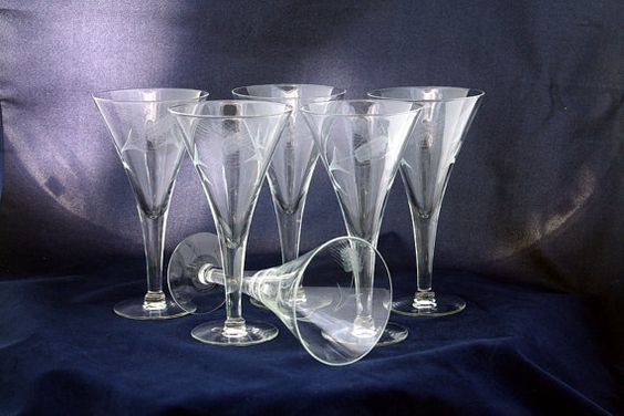 antique etched crystal stemware | Vintage Barware Etched Crystal Wheat Pattern Wine/ Martini/ Cocktail ...