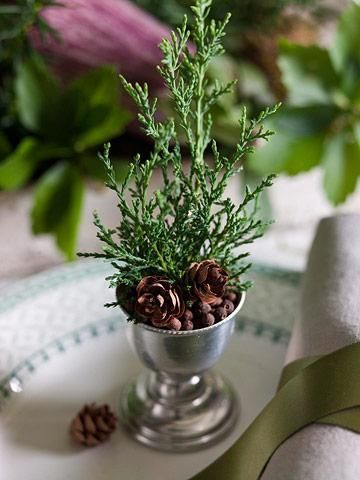 "Juniper sprigs in egg cups create ""trees"" at place settings...fill base w/berries & tiny pinecones. Source: midwestliving.com"