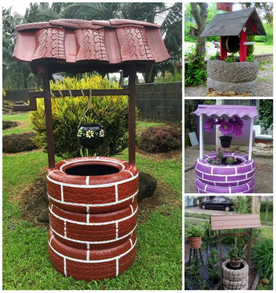 Diy wishing well planter from recycled tires share for Tire decoration ideas