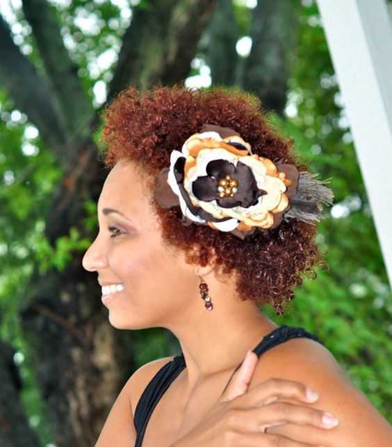 Chocolate Brown Gold Caramel and Cream Fascinator Flower by Caheez, $17.50