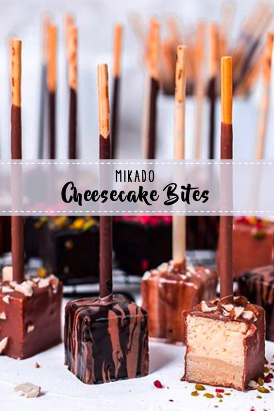 Mikado Cheesecake Bites Der Perfekte Snack Schoko Cheesecake Bites Mit Mikado Sticks Aufg In 2020 Dessert Rezepte Schnell Einfacher Nachtisch Dessert Weihnachten
