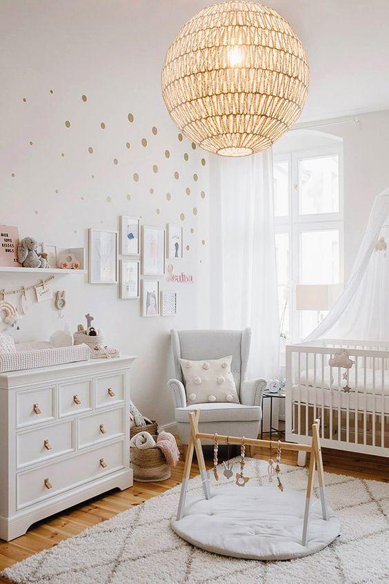 Chambre D Enfant Boheme Classique Gris Rose Blanc Textile Rotin