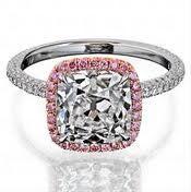 pink halo cushion cut engagement ring
