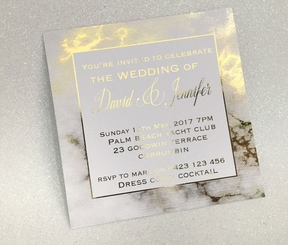 Gold Foil Marble Printed Wedding Invitation SAMPLE, Engagement - format of engagement invitation