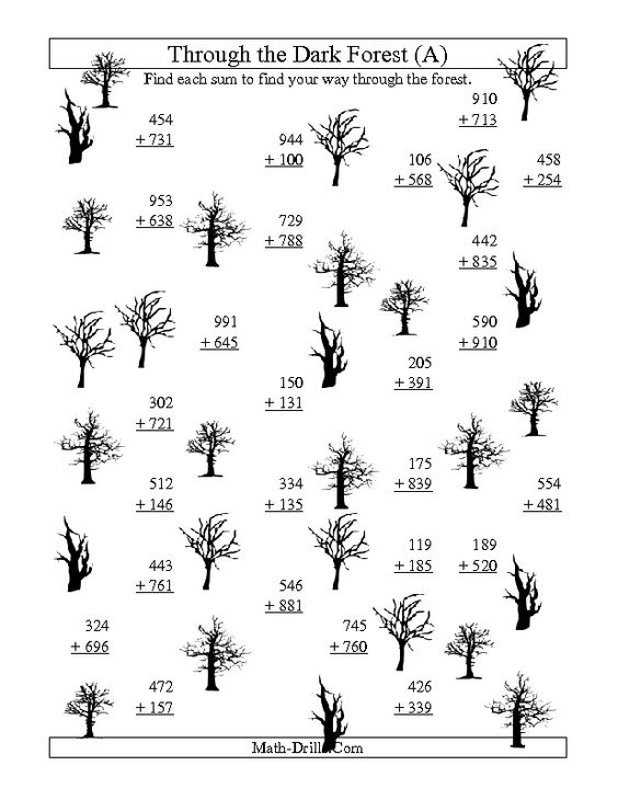 math worksheet : halloween math worksheet  adding through the dark forest three  : Four Digit Addition Worksheets