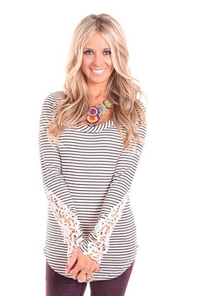 Ivory Striped Top with Lace Sleeves