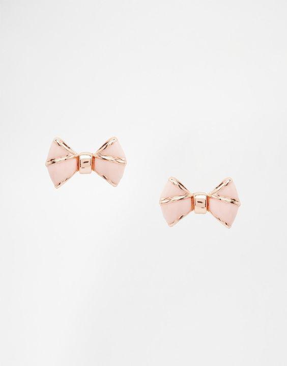 Image 1 ofTed Baker Ediee Pink Enamel Baby Bow Stud Earrings