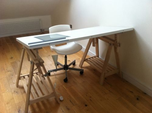 Attractive Ikea Trestle Desk Linnmon Finnvard Desk Computer Art Desk Light Box +light+chair  | EBay I Love The Artsy Look! | Studio | Pinterest | Trestle Desk, ...