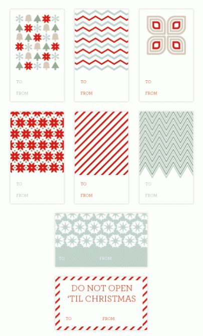 Free Printable Holiday Gift Tags: