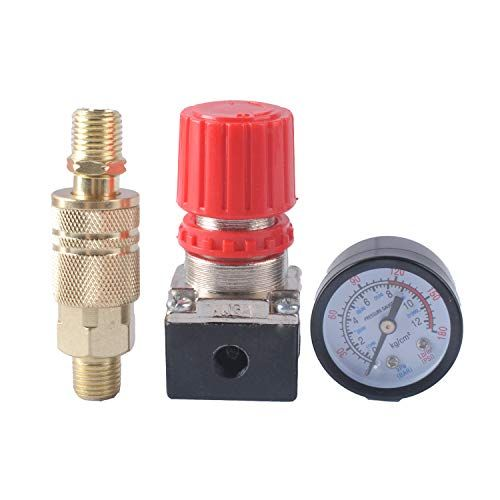 Wadoy 140psi Air Compressor Pressure Regulator Gauge With Industrial Interchange Air Fitting 1 4 Inch Npt Male Quick Connect Coupler