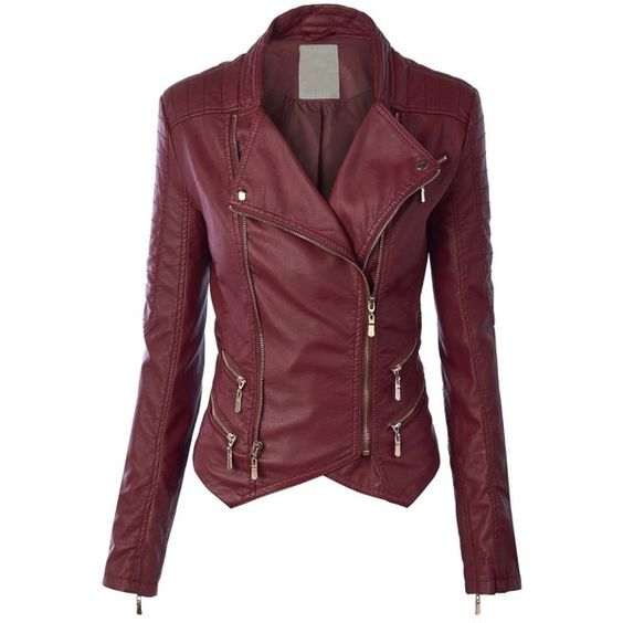 LL Womens Faux Leather Zip Up Biker Jacket with Stitching Detail (140 BRL) ❤ liked on Polyvore