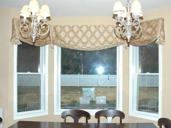 Kitchen window valances Bay window curtains and Kitchen