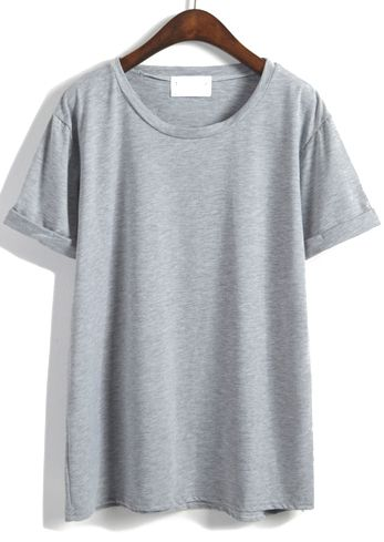 Romwe Cuffed Loose Grey T-shirt